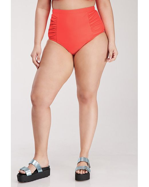 Forever 21 | Red Plus Size Ruched High-waisted Bikini Bottom | Lyst