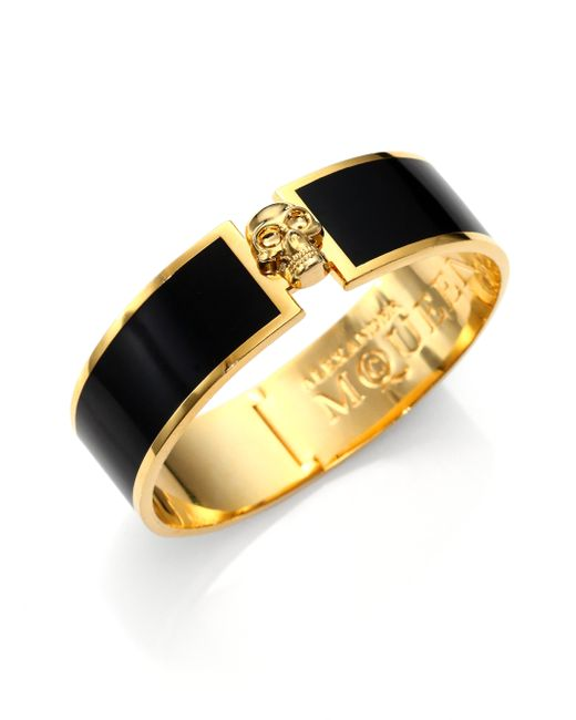 Alexander McQueen   Black Enamel Skull Button Bangle Bracelet   Lyst