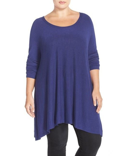 Eileen Fisher | Blue Stretch Knit High/low Tunic Sweater | Lyst