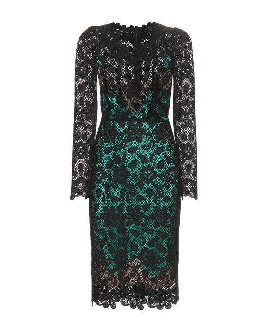 Dolce & Gabbana | Green Viscose Macramé Dress | Lyst