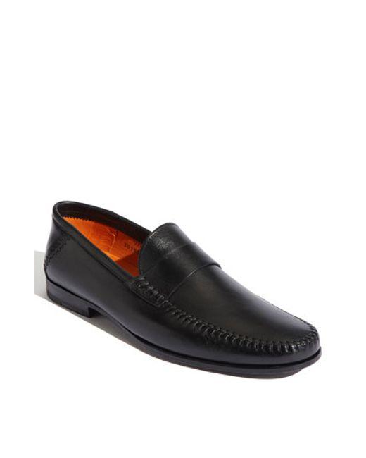 Santoni   Black 'paine' Loafer for Men   Lyst