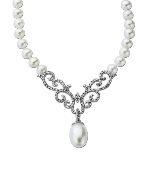 Lord & Taylor | Metallic Pearl And Diamond Necklace In 14 Kt. White Gold 0.38 Ct. Tw 8mm | Lyst