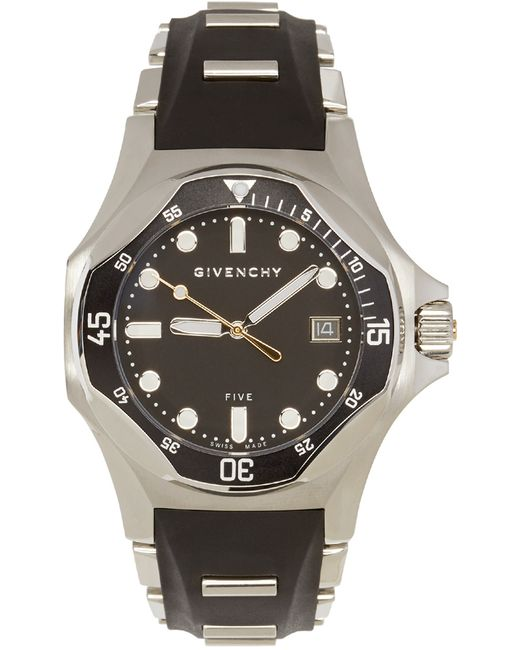 Givenchy silver black five shark watch in silver for men lyst for Givenchy watches