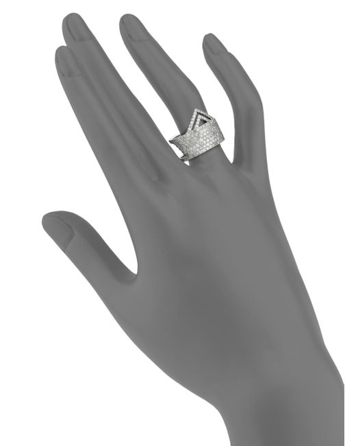Meira T   Metallic Pave Diamond & 14k White Gold Ice Ring   Lyst