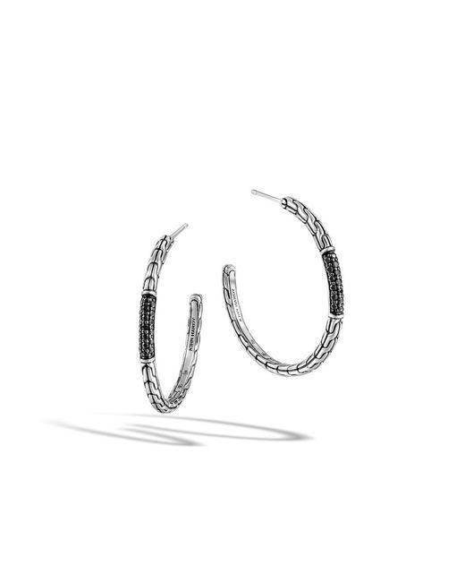 John Hardy | Bamboo Black Sapphire & Sterling Silver Hoop Earrings/1.6 | Lyst
