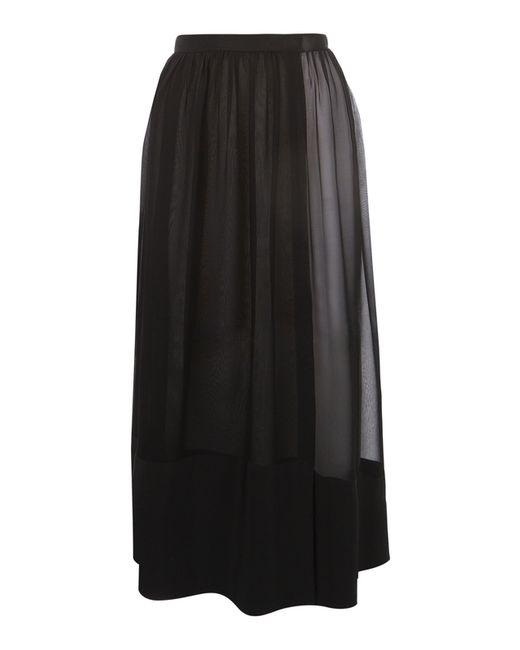 antipodium black silk georgette maxi gather skirt in black