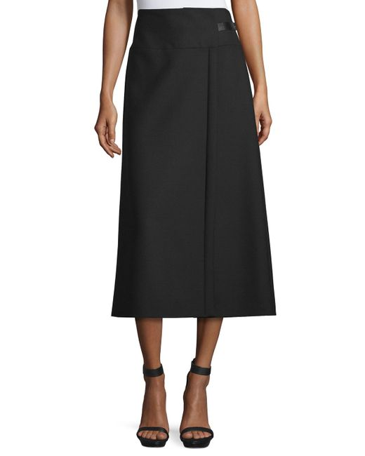 costume national a line midi skirt in black save 66 lyst