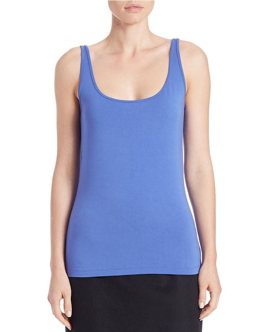 Lord & Taylor | Blue Stretch Roundneck Tank | Lyst