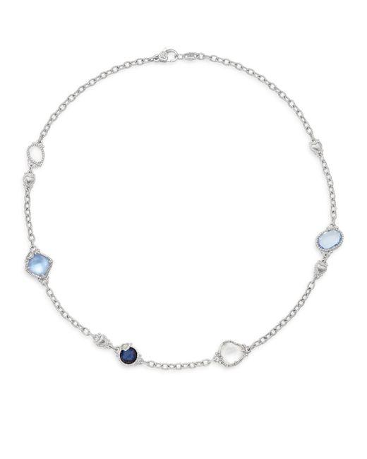 Judith Ripka | Metallic Prism White Sapphire, Blue Corundum, Blue Quartz & Sterling Silver Doublet Necklace | Lyst