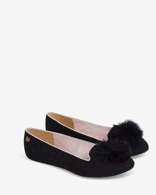 Ted Baker | Black Pom Pom Slippers | Lyst