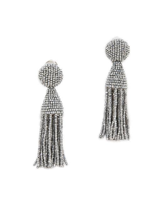 Oscar de la Renta | Metallic Beaded Short Tassel Clip Earrings | Lyst