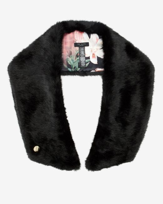 Ted Baker | Black Avril Colour Block Faux Fur Scarf | Lyst