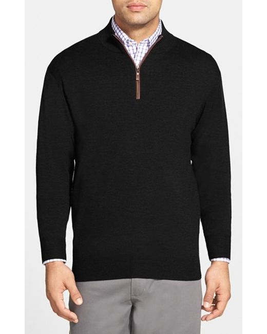 Peter Millar | Black Leather Trim Quarter Zip Pullover Sweater for Men | Lyst