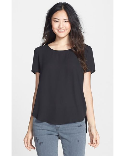 Pleione | Black Pleat Back Woven Print Top | Lyst