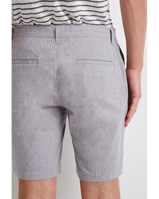 Forever 21 | Gray Linen Chambray Shorts for Men | Lyst