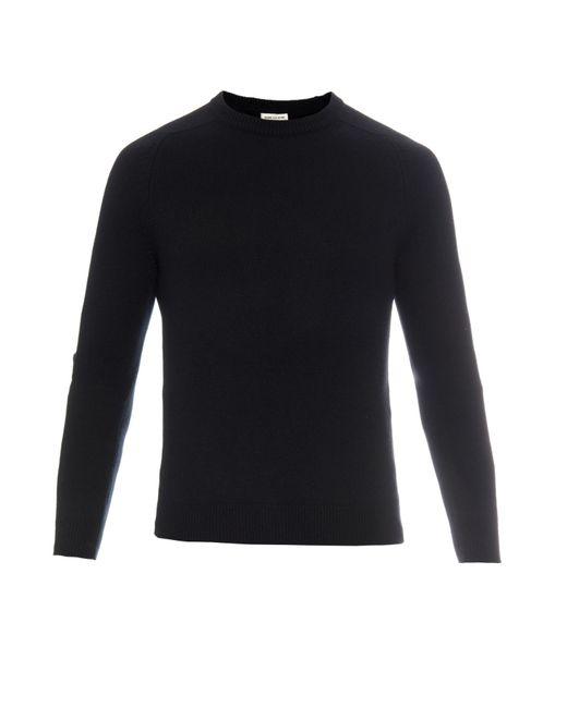 Saint Laurent   Black Leather Elbow-patch Cashmere Sweater for Men   Lyst