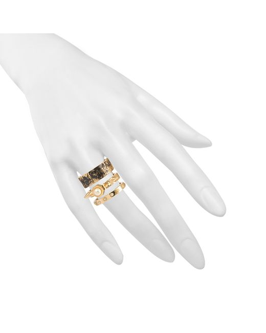 Maria Francesca Pepe | Metallic Distressed Spikes Pearls Ring | Lyst