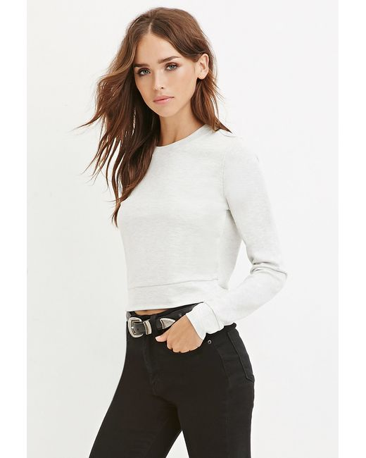 Forever 21 | Gray Knit Crop Top | Lyst