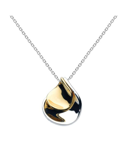 Kit Heath | Metallic Double Petal Sterling Silver 18ct Gold Plated Pendant | Lyst