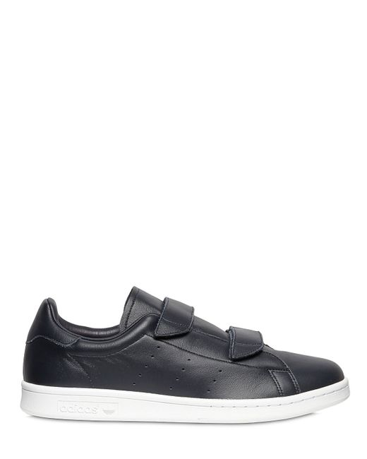 Adidas Originals Hyke Velcro Leather Sneakers In Black For