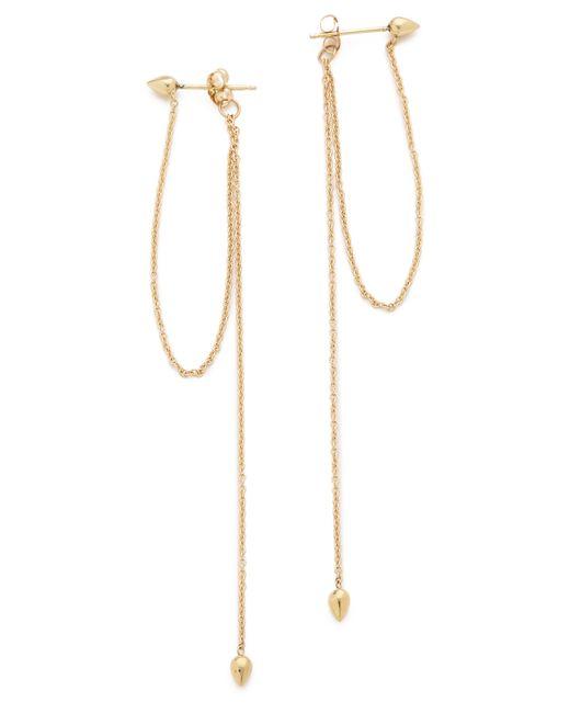 Zoe Chicco | Metallic Hanging Chain Bullet Stud Earrings | Lyst