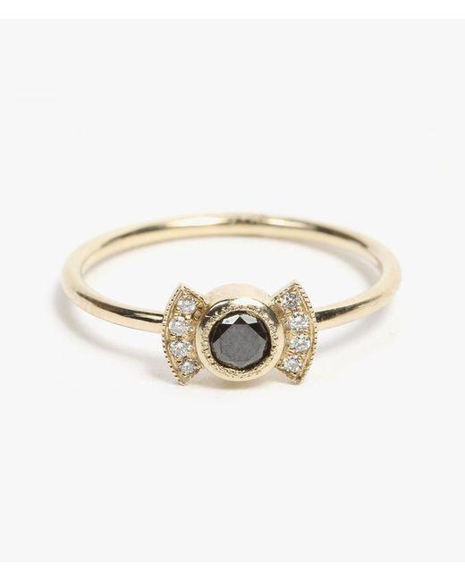 Jennie Kwon | Metallic Black Diamond Deco Ring | Lyst