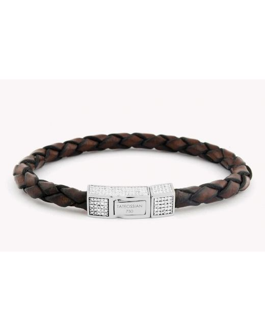 Tateossian | Single Wrap Brown Leather Scoubidou Bracelet With White Diamond And 18k White Gold Clasp for Men | Lyst