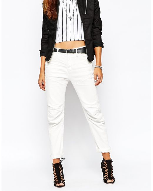 g star raw g star 5620 3d low boyfriend jeans in white lyst. Black Bedroom Furniture Sets. Home Design Ideas