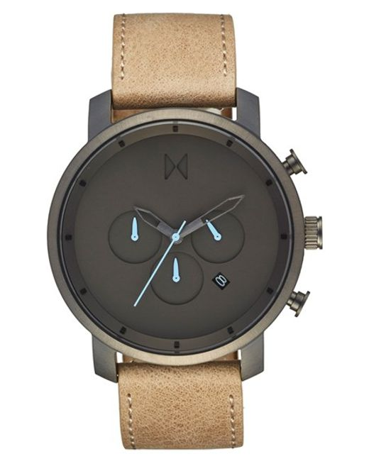 Mvmt chronograph leather strap watch in metallic for men lyst for Mvmt watches