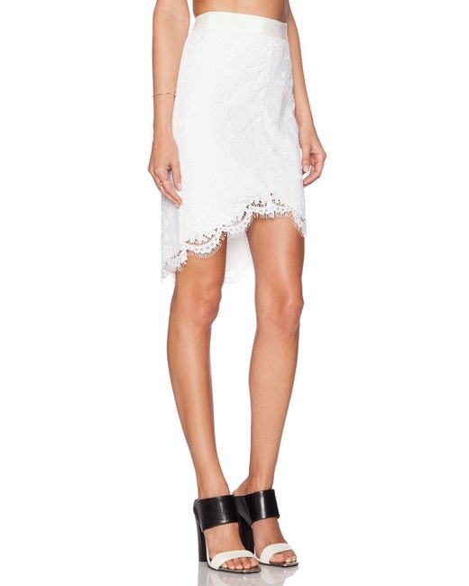 zoe jules high low lace skirt in white white