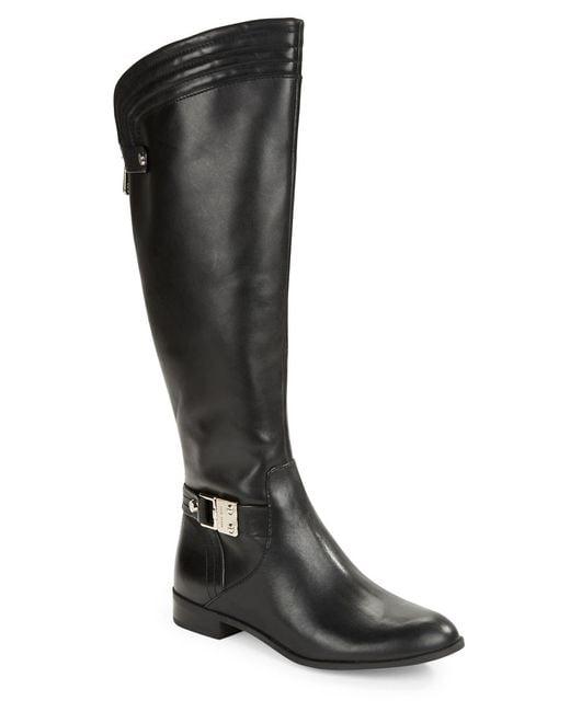 Anne Klein   Black Kaydon Leather Boots   Lyst