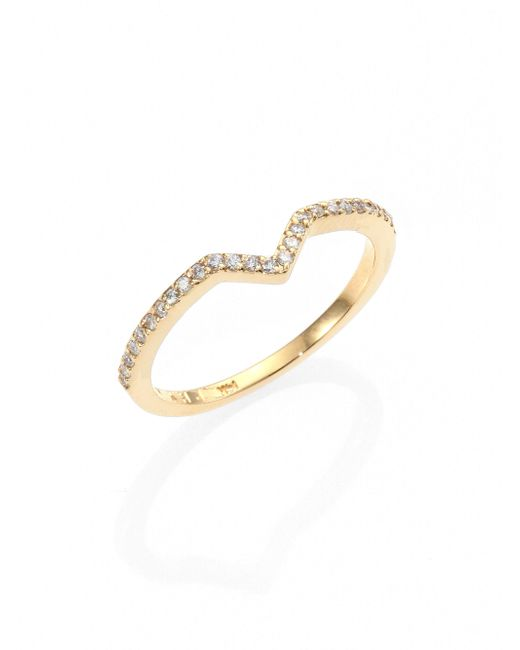 Phyne By Paige Novick   Metallic Elisabeth Pave Diamond & 14k Yellow Gold Stackable Ring   Lyst