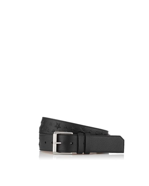 Jimmy Choo | Archer Black Grainy Leather Belt With Embossed Stars for Men | Lyst