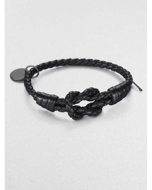 Bottega Veneta | Black Intrecciato Knotted Leather Bracelet | Lyst
