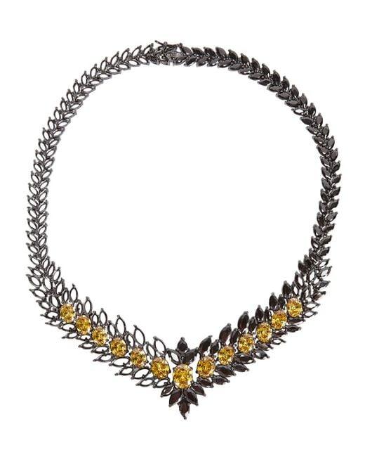 Iosselliani   Black Statement Zircon Gunmetal Necklace   Lyst