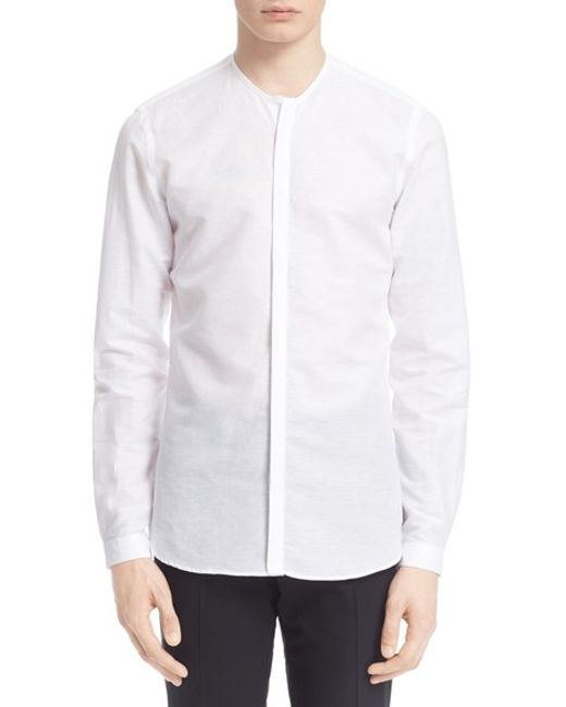 The kooples trim fit collarless linen cotton shirt in for Collarless white shirt slim fit