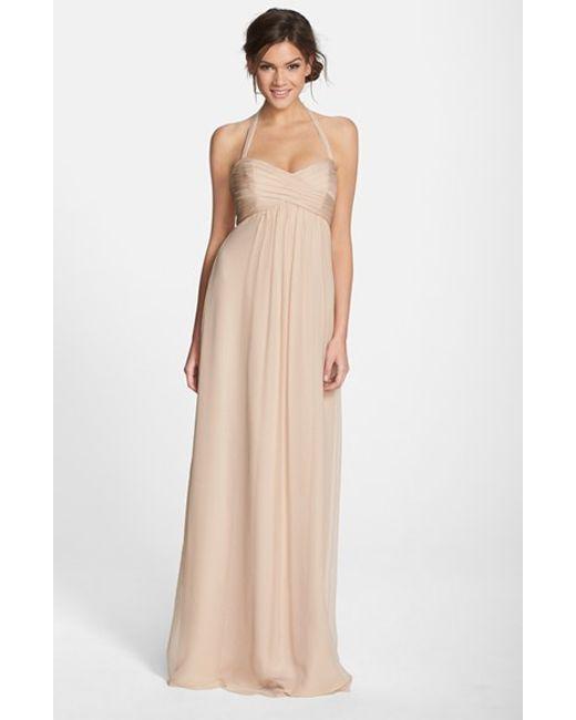 Amsale | Pink Chiffon Halter Gown | Lyst