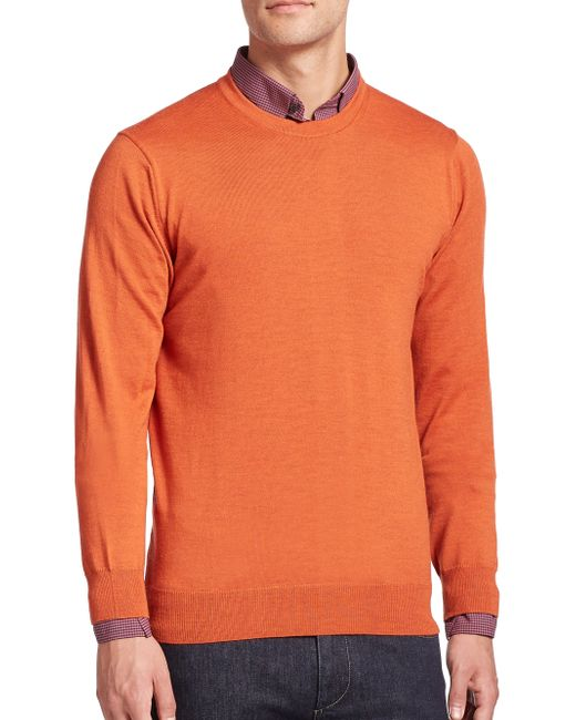 Saks Fifth Avenue   Orange Merino Wool Crewneck Sweater for Men   Lyst