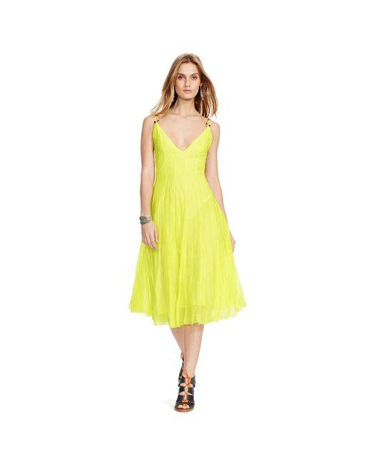 Polo Ralph Lauren | Yellow Cotton-silk Sleeveless Dress | Lyst