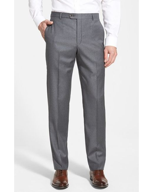 Hickey Freeman | Gray 'b Series' Flat Front Wool Trousers for Men | Lyst