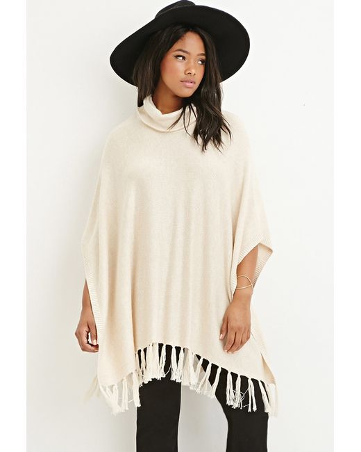 Forever 21 | Natural Plus Size Tasseled Funnel Neck Poncho | Lyst