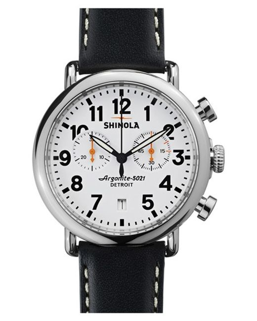 Shinola | Black 'the Runwell Chrono' Leather Strap Watch for Men | Lyst