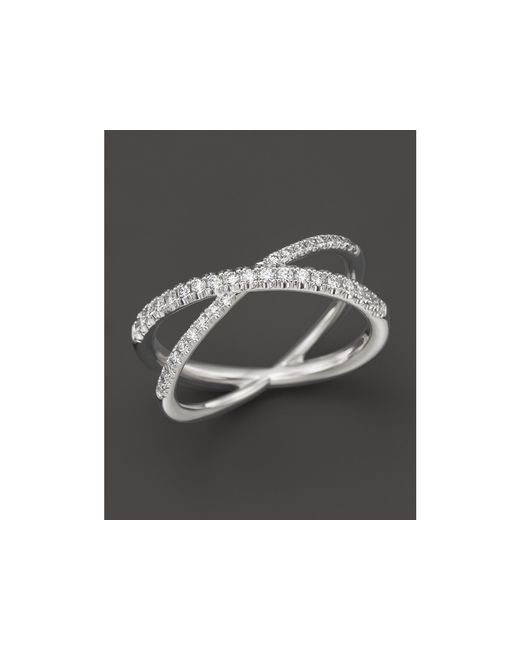 "Roberto Coin | 18k White Gold Diamond Crossover ""x"" Ring, .28 Ct. T.w. 