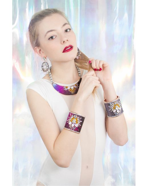 Bijoux De Famille | Pink Constellation Small Plastron Necklace | Lyst