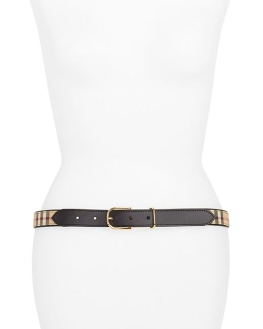 Burberry | Black 'ewell' Horseferry Check & Leather Belt | Lyst