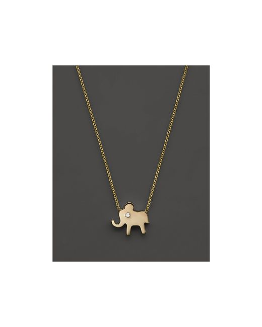 "Zoe Chicco | Metallic 14k Gold Elephant Necklace, 16"" | Lyst"