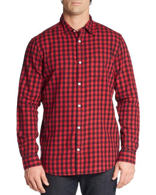 Saks fifth avenue slim fit buffalo plaid cotton flannel for Women s slim fit flannel shirt