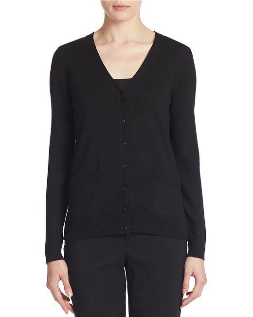 Lord & Taylor | Black Plus Merino Wool Basic V-neck Cardigan | Lyst