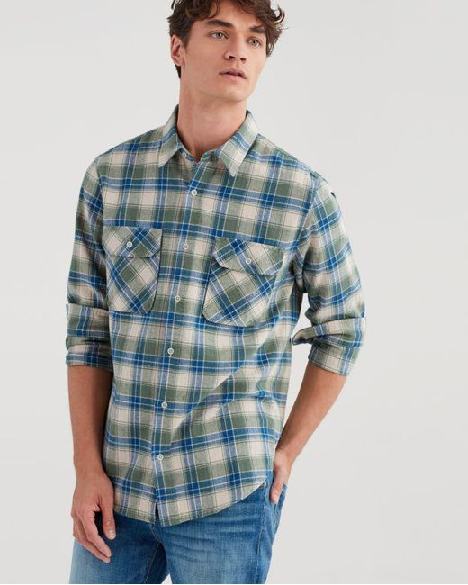 9d066dd17a5 7 For All Mankind - Blue Long Sleeve Distressed Desert Plaid Shirt In  Myrtle Green for ...