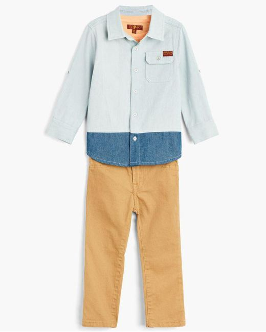 7 For All Mankind - Blue Boy's 2t-4t Denim Shirt & Tee & Jean In Light Wash for Men - Lyst